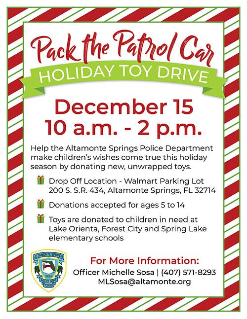 2018 Pack the Patrol Car Flyer